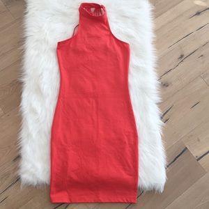 Nasty Gal Coral Bodycon Strappy Midi Dress